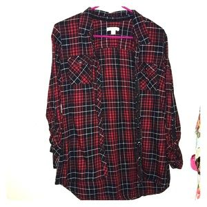 Red and black flannel button up